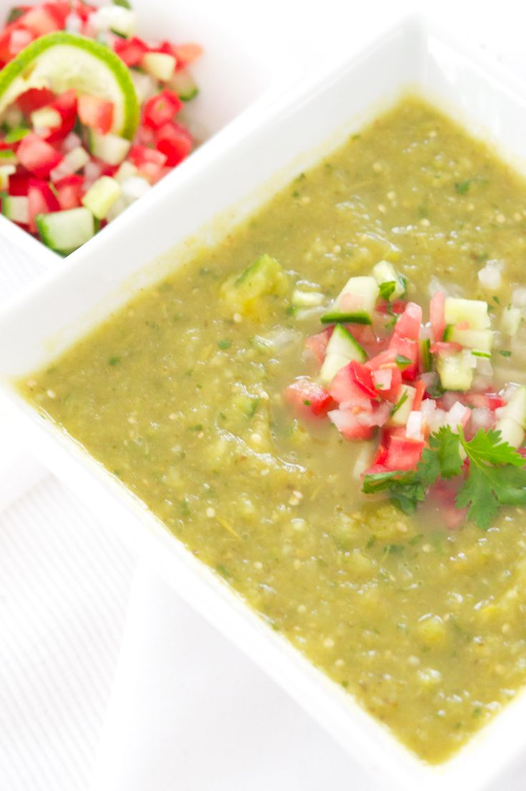 Roasted Tomatillo Gazpacho w/ Tomato-Cucumber salsa