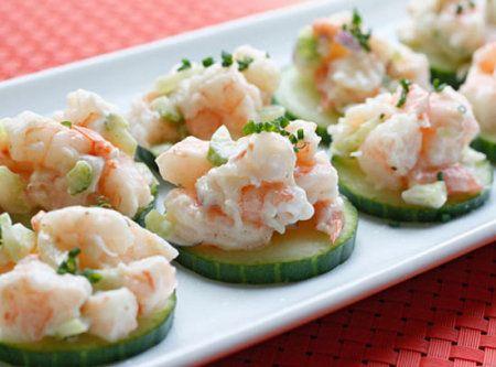 Shrimp Salad on Cucumber Slices Recipe | Favorite foods | Pinterest