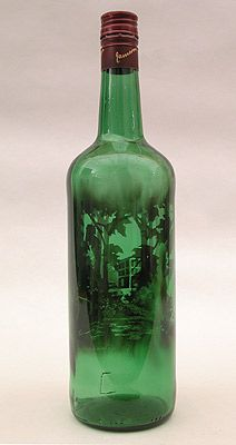 "Artist Jim Dingilian - Used a process called ""subtraction"". ""He fills these abandoned, empty bottles with candle smoke, and then, etches, out of the soot, intricate landscapes depicting scenes of places in which these bottles could have been found."""