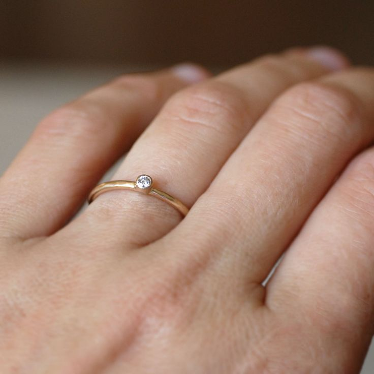 tiny engagement ring simple 14k gold wedding