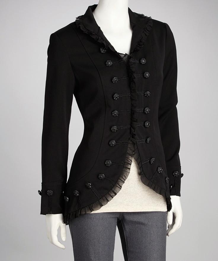 Home > Gothic Clothing > Fashion Black Punk Military Jacket for Women
