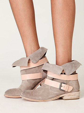 Sylvia Boot  grey suede and pink buckled straps