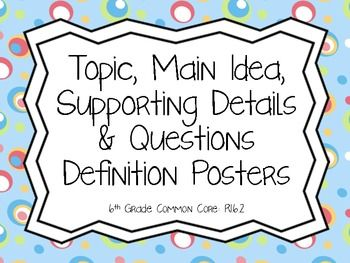 Main Idea, Details, Topic & Question Definition Posters