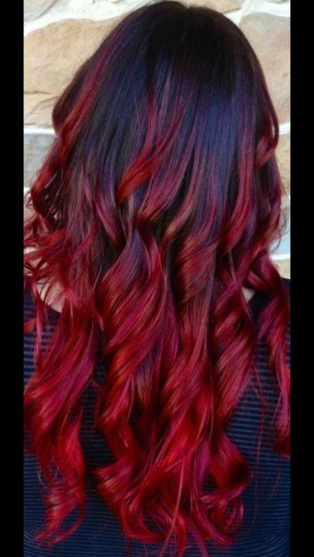 Black Red Ombre Hair Color Pinterest