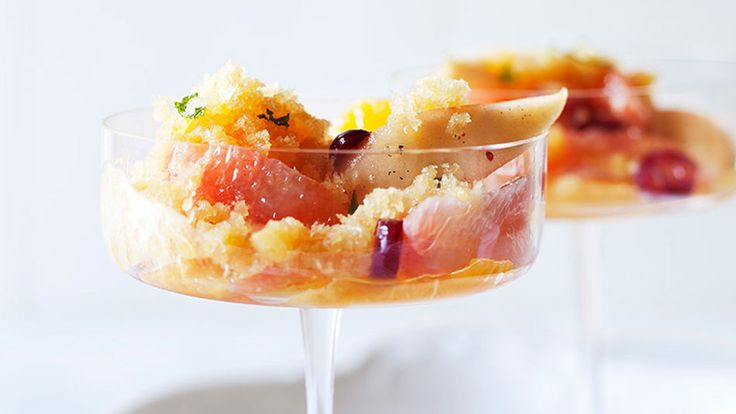 Orange Granita with Honey-Poached Pears, Cranberries and Citrus Recipe