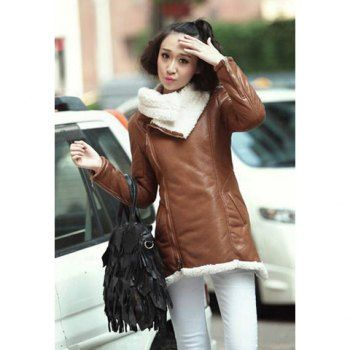 Fashion modern style warming thicken cotton blend with lapel long