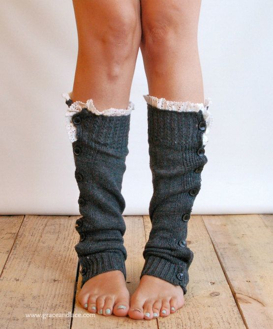 I just bought these beauties! The Miss Molly - Charcoal Grey Slouchy Button Down LEG WARMERS with Knit Lace trim via Etsy.