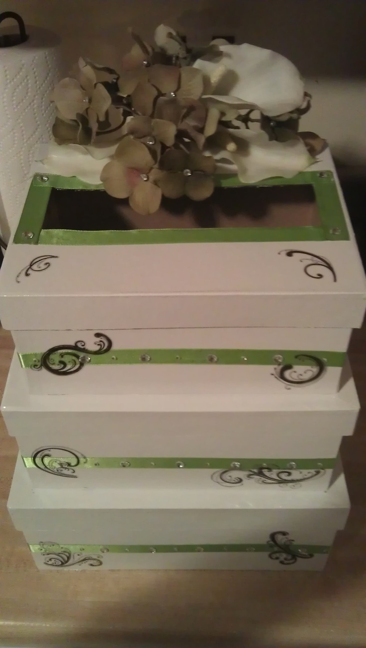 created this wedding card box for a friends wedding. White gloss ...