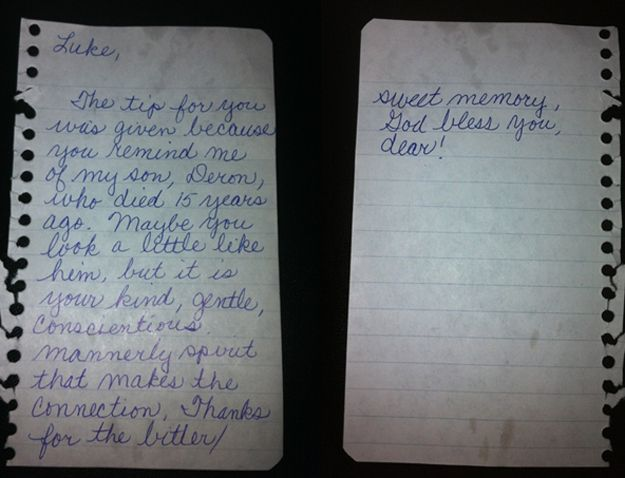 This note that was handed to a waiter along with a $20 bill by an elderly lady in his restaurant.