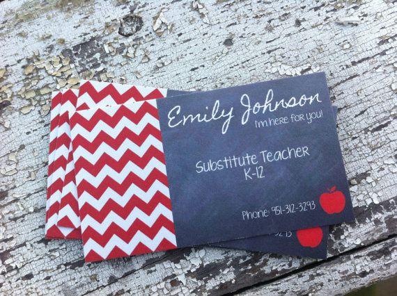 Substitute teacher business cards PRINTABLE