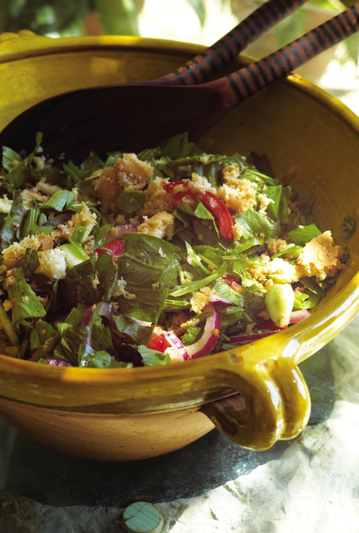 Panzanella - Bread salad. Italian pottery.....would love to have these ...