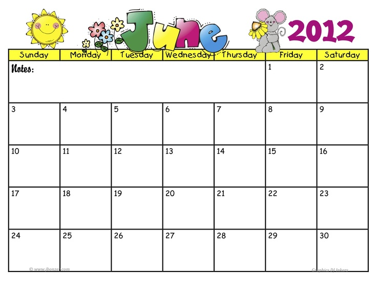 June 2012 numbered | Monthly - calendars, charts... | Pinterest