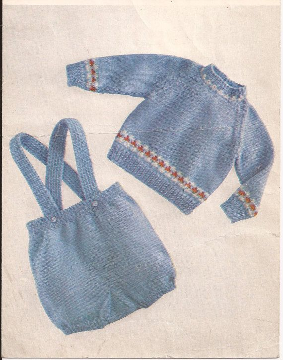 Knitting Pattern Baby Pants : Vintage Baby Boys Sweater/pants/diapers/shorts Knitting Pattern PDF