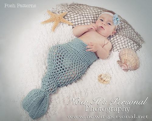 Crochet Patterns Mermaid Tail : Crochet PATTERN Baby Mermaid Tail Photo Prop Crochet PDF 193 - Newborn ...