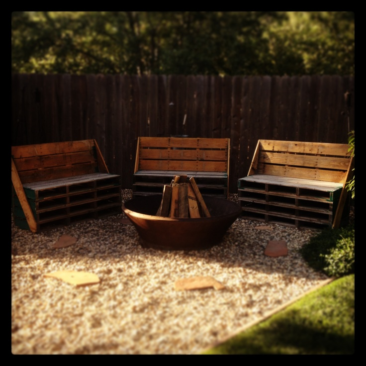 Pallet benches around a fire pit backyard pinterest Fire pit benches