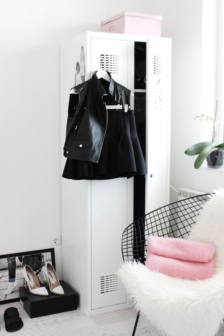 walk-in closet, metal locker, diamond chair, white interior, Scandinavian interior, Nordic interior