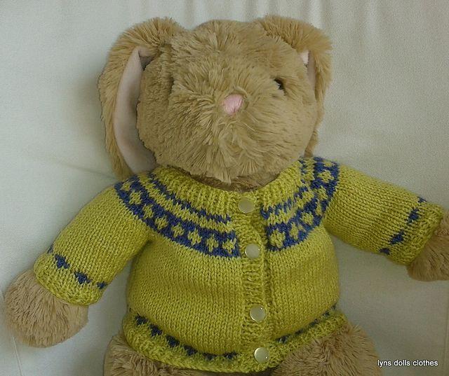 Knitted Teddy Bear Pattern Ravelry : Teddy Bear Fair Isle cardigan pattern by linda Mary