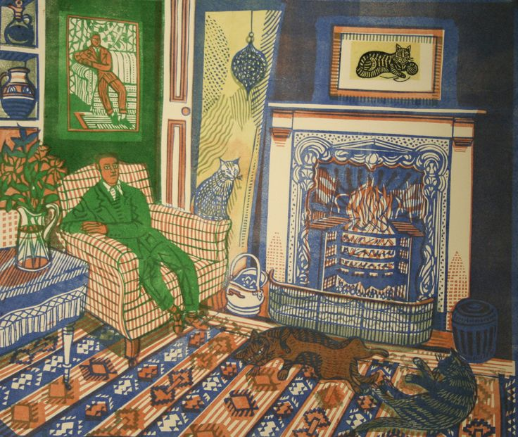 Richard Bawden, Fireside II: The Green Man, linocut