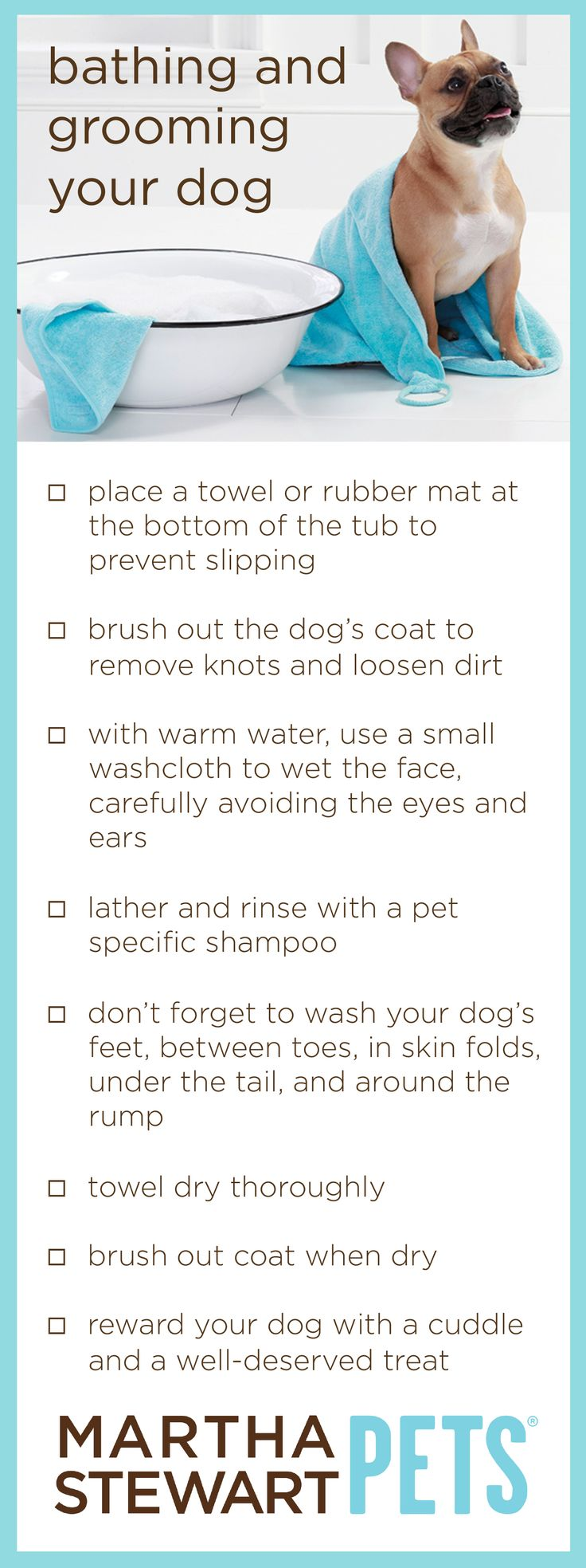 #MarthaStewartPets tips on #Bathing and #Grooming your #dog. Check out our selection of grooming tools available at #PetSmart! #petcare #pettips