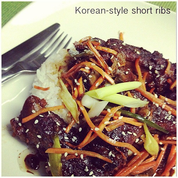 Korean-Style Short Ribs - made in the crockpot.. just put all ...