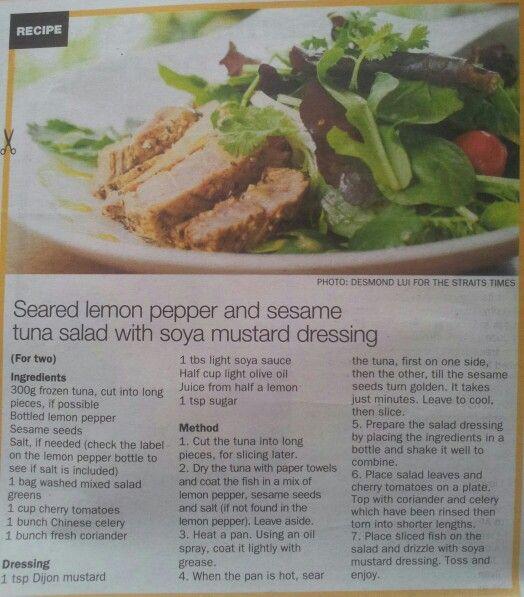 Seared lemon pepper & sesame tuna salad w soya mustard dressing
