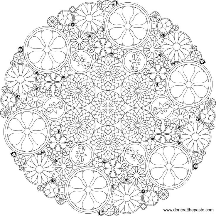 complicated coloring pages flowers - photo#46