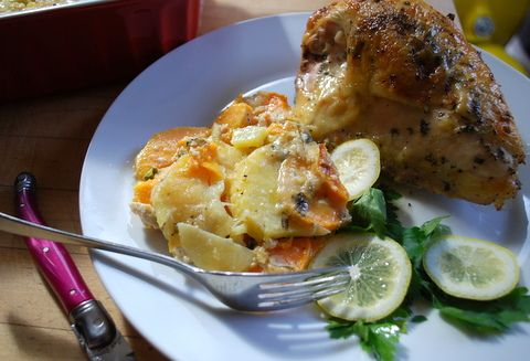 Yukon Gold-Sweet Potato Gratin | Thanksgiving Recipes | Pinterest