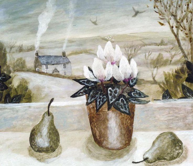 Sarah Bowman (b.1975) — Cyclamen & Pears (1160x1000)