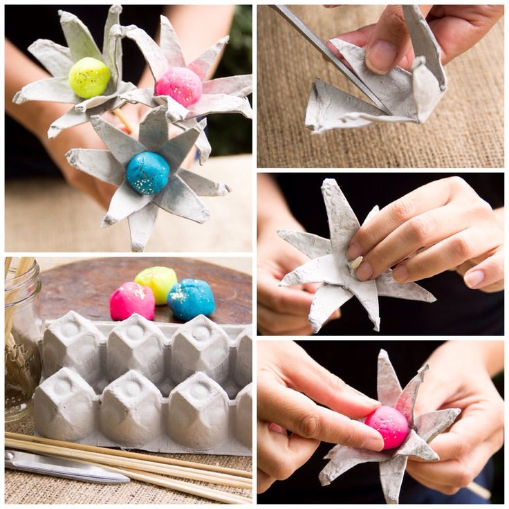 Egg carton flowers for Egg tray craft