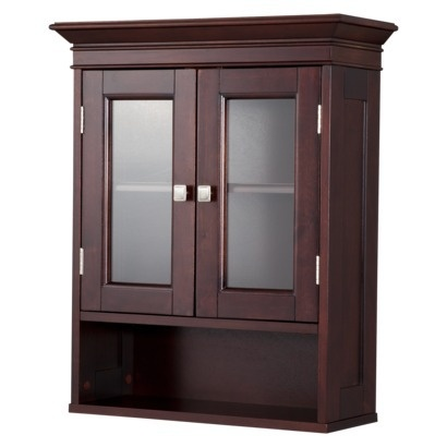 Fieldcrest luxury wall cabinet espresso for Bathroom cabinets target