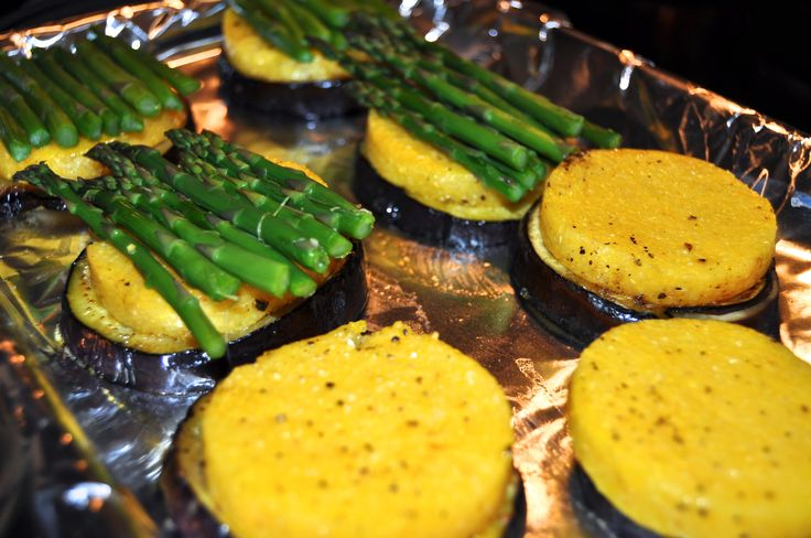 eggplant polenta and asparagus stacks with gruyere cheese on top. # ...