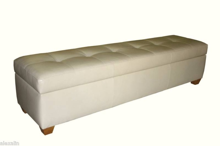 King Size Storage Bench In Bone Leather Tufted Ottoman Bed Chest