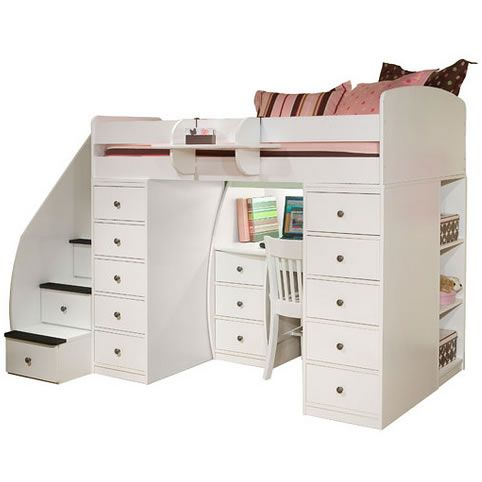 berg furniture sierra twin loft bed with 2 chests staircase and desk