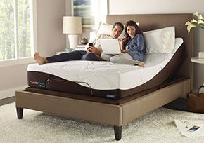 Comforpedic® with Nuflex® Foundation: With the touch of a button, adjust the bed to your optimal sleeping position for pressure relief and clearer breathing. It's just as easy to elevate it into the ideal position for working. reading, watching TV, and gaming.