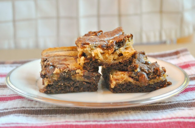 Peanut Butter Cream Cheese Marbled Brownies