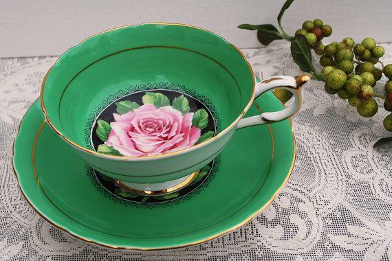 Paragon China Tea Cup and Saucer Kelly Green by PinkDahliaStudio, $59.00