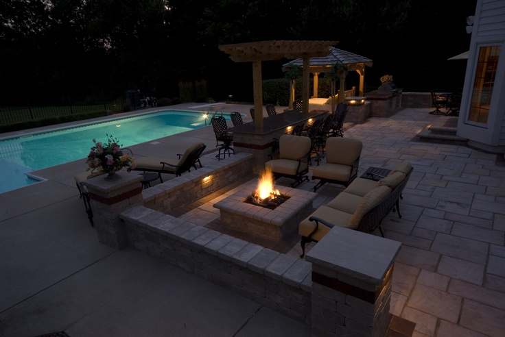 Backyard With Pool And Firepit : Patio, pool, fire pit, bar  DECORATING  Pinterest
