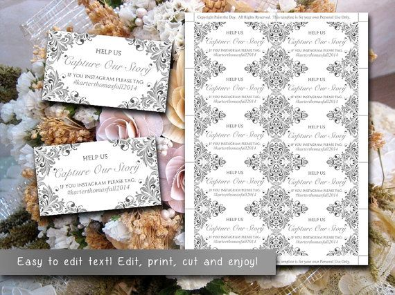wedding instagram place cards template wedding hashtag maggie gray. Black Bedroom Furniture Sets. Home Design Ideas