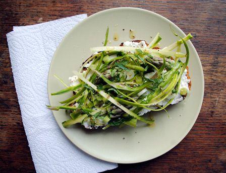 Shaved Asparagus Tartine | G E T - I N - M Y - F A C E | Pinterest