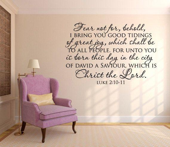 Scripture Wall Decal. Fear Not For Behold Scripture Vinyl Wall Art ..