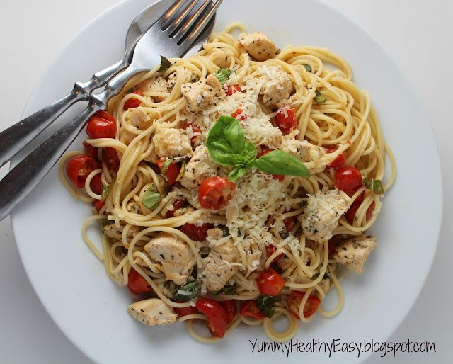 Healthy & Light Spaghetti with Sauteed Chicken and Grape Tomatoes ...