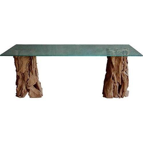 glass top tree trunk base dining table 89208