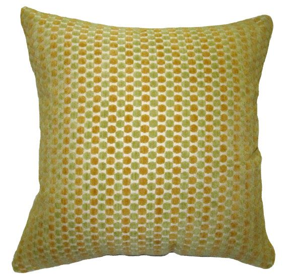 Chenille Throw Pillow Covers : 18X18 Green and Gold Dots Chenille Decorative Throw Pillow Covers