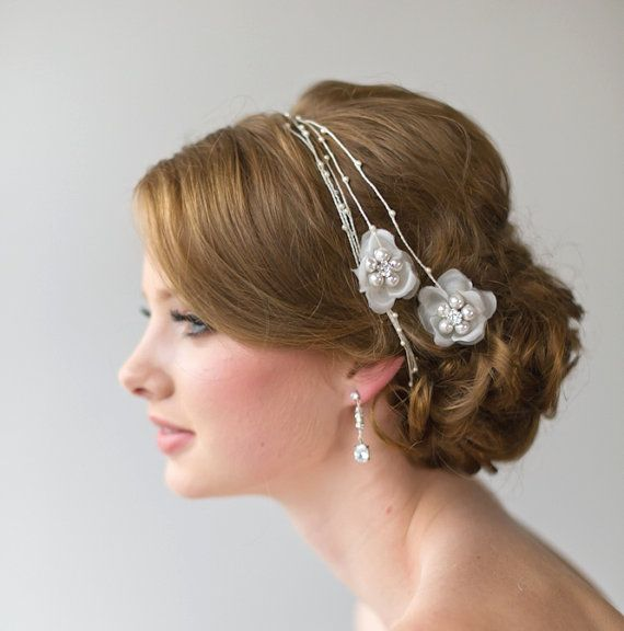 Bridal Hair Accessory, Pearl Thread Hair Wrap, Wedding flower Head Pi ...