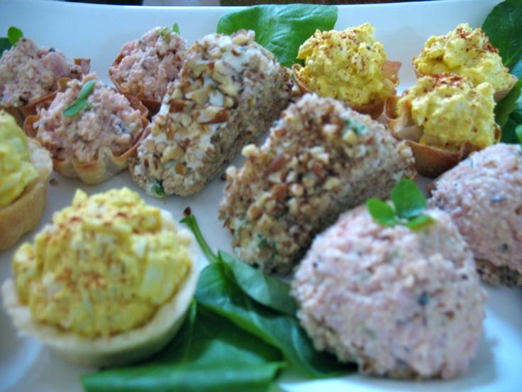 petite bites, open faced finger sandwiches of egg salad, minced ham ...