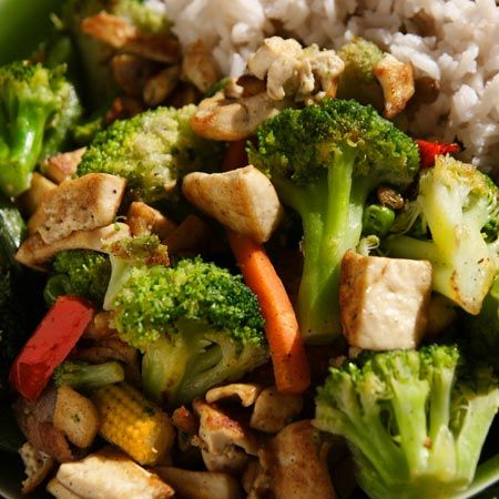 Broccoli and tofu stir fry with toasted almonds.