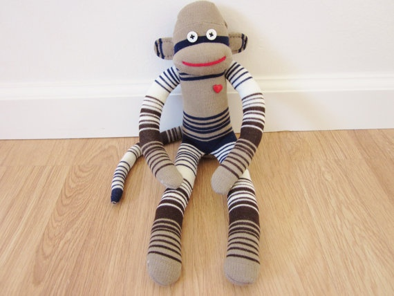 Retro striped sock monkey plush with tan navy by girliceclimber, $22 ...