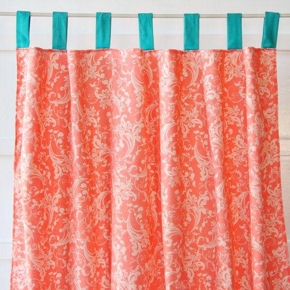 lacey dot coral aqua curtain panels
