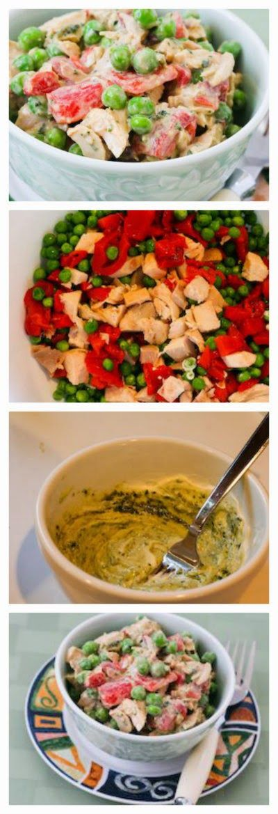 Chicken Pesto Salad with Roasted Red Pepper and Peas; this is a quick ...
