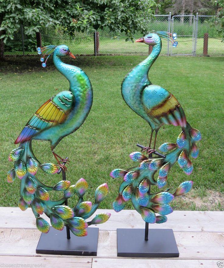 32 metal peacocks garden deck patio decor set of two yard for Garden decking ornaments